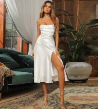 White Slit Backless Midi Sleeveless Strappy Bodycon Dress HB7267-White