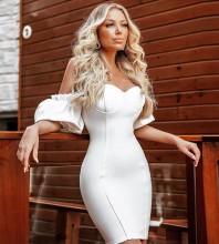 White Distinctive Frill Mini Short Sleeve Off Shoulder Bandage Dress HB7268-White