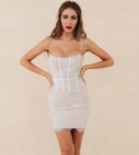 Apricot Lace Striped Mini Sleeveless Strappy Bandage Dress HB7269-Apricot