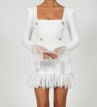 White Distinctive Lace Mini Long Sleeve Square Collar Bandage Dress HB7280-White