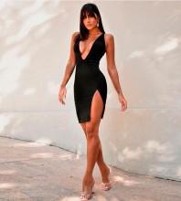 Black Backless Cut Out Mini Sleeveless V Neck Bandage Dress HB7281-Black