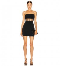 Black Striped Mesh Mini Sleeveless Strappy Bandage Dress HB7283-Black