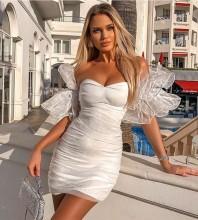 White Ruched Mesh Mini Short Sleeve Off Shoulder Bandage Dress HB7284-White
