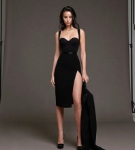 Black Backless Slit Midi Sleeveless Strappy Bandage Dress HB7286-Black