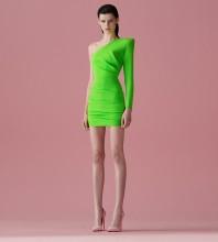 Fluorescent Green Asymmetrical Frill Mini Long Sleeve One Shoulder Bandage Dress HB7287-Fluorescent-Green