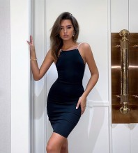 Black Mesh Backless Mini Sleeveless Strappy Bandage Dress HB7292-Black