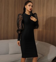 Black Slit Mesh Over Knee Long Sleeve Round Neck Bandage Dress HB7301-Black