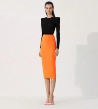 Black Orange Slit Splicing Over Knee Long Sleeve Round Neck Bandage Dress HB7302-Black-Orange