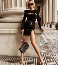Black Slit Cut Out Mini Long Sleeve Round Neck Bandage Dress HB7314-Black