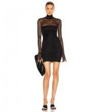 Black Distinctive Mesh Mini Long Sleeve High Neck Bandage Dress HB7323-Black