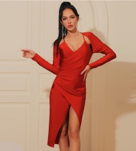 Red Distinctive Frill Midi Long Sleeve Square Collar Bandage Dress HB7328-Red