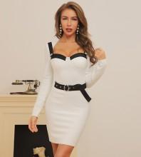 White Plain With Belt Mini Long Sleeve Square Collar Bandage Dress HB7342-White