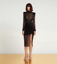 Black Slit Mesh Over Knee Long Sleeve High Neck Bandage Dress HB7351-Black