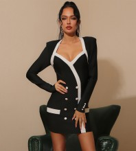 Black White Distinctive Striped Mini Long Sleeve Square Collar Bandage Dress HB7355-Black-White