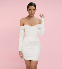 White Off Shoulder Long Sleeve Mini Striped Backless Bandage Dress HB7356-White
