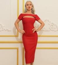Red Distinctive Cut Out Midi Short Sleeve Off Shoulder Bandage Dress HB7360-Red