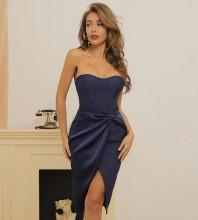Blue Backless Frill Midi Sleeveless Strapless Bandage Dress HB7361-Blue