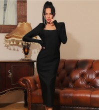 Black Bowknot Backless Over Knee Long Sleeve Square Collar Bandage Dress HB7364-Black