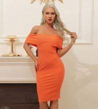 Orange Backless Plain Midi Short Sleeve Off Shoulder Bandage Dress HB7368-Orange