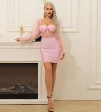 Pink Striped Mesh Mini Long Sleeve Square Collar Bandage Dress HB7369-Pink