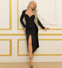 Black Rhinestone Slit Over Knee Long Sleeve Square Collar Bandage Dress HB7370-Black