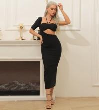 Black Cut Out Asymmetrical Midi Short Sleeve Halter Bandage Dress HB7375-Black