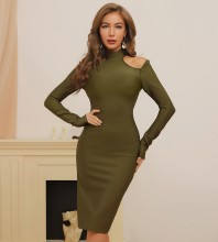 Army Green Slit Cut Out Midi Long Sleeve High Neck Bandage Dress HB7376-Army-Green