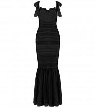 Black Frill Fishtail Maxi Sleeveless Strappy Bandage Dress HB7379-Black