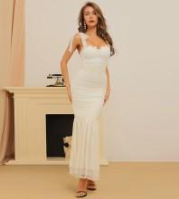 White Frill Fishtail Maxi Sleeveless Strappy Bandage Dress HB7379-White