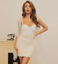 Apricot Wrinkled Frill Mini Sleeveless Strappy Bandage Dress HB7380-Apricot