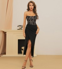 Black Striped Lace Over Knee Sleeveless Strapless Bandage Dress HB7382-Black