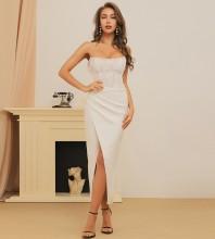 White Striped Lace Over Knee Sleeveless Strapless Bandage Dress HB7382-White