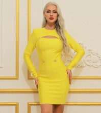 Yellow Metal Studded Hollow out Mini Long Sleeve Round Neck Bandage Dress HB7384-Yellow