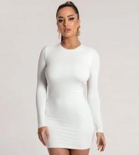 White Plain Backless Mini Long Sleeve Round Neck Bandage Dress HB7385-White