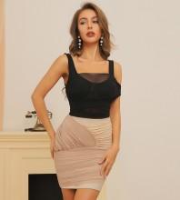 Black Apricot Asymmetrical Wrinkled Mini Short Sleeve Strappy Bandage Dress HB7388-Black-Apricot