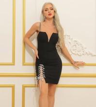 Black Backless Tie Mini Sleeveless Strappy Bandage Dress HB7392-Black