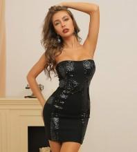 Black Distinctive Sequined Mini Sleeveless Strapless Bandage Dress HB7393-Black