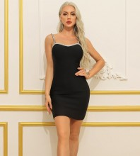 Black Backless Rhinestone Mini Sleeveless Strappy Bandage Dress HB7398-Black