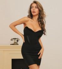 Black Backless Frill Mini Sleeveless Strapless Bandage Dress HB7400-Black