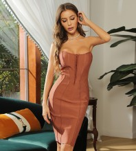Coppery Backless Striped Midi Sleeveless Strapless Bandage Dress HB7407-Coppery