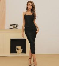 Black Slit Plain Midi Sleeveless Strappy Bandage Dress HB7408-Black