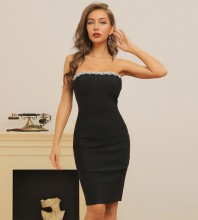 Black Slit Rhinestone Midi Sleeveless Strapless Bandage Dress HB7412-Black