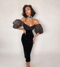 Black Backless Mesh Midi Mid Sleeve Off Shoulder Bandage Dress HB7418-Black