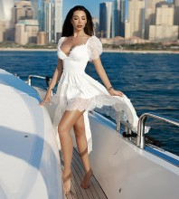 White Frill Lace Maxi Short Sleeve V Neck Bodycon Dress HB7419-White