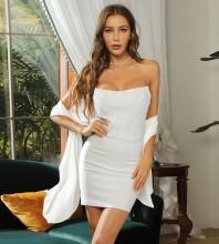 White Tie Striped Mini Sleeveless Strapless Bandage Dress HB7421-White