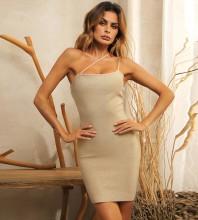 Gold Backless Plain Mini Sleeveless One Shoulder Bandage Dress HB7422-Gold