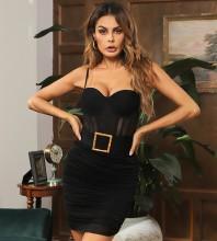 Black Wrinkled Mesh Mini Sleeveless Strappy Bandage Dress HB7423-Black