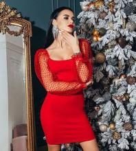 Red Plain Mesh Mini Long Sleeve Square Collar Bandage Dress HB7427-Red