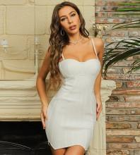 White Mesh Striped Mini Sleeveless Strappy Bandage Dress HB7428-White