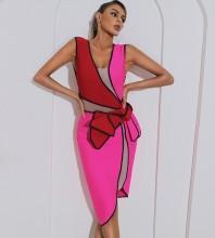 Rose Mesh Splicing Midi Sleeveless V Neck Bandage Dress HB7429-Rose